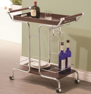 Add Mid Century Modern style to your cocktail hour or tea time with this chic serving cart. Rolling cart is decked out in a sophisticated dark brown wood finish and architecturally-sloped chrome support beams. Cart features top tray, bottom wood shelf, divided compartments for wine bottle storage, and a rack for hanging glasses and stemware. $149