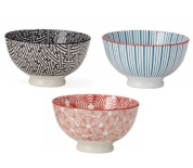 Simple but colorful, these small bowls are wonderful to add to any dinnerware set. They are the perfect size for desserts (let's all scream for ice cream), can be used as a rice bowl or for a variety of side dishes, and of course a good size for a healthy serving of soup. Buy in multiples or mix and match designs! $8 each.