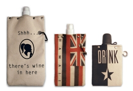 "Made in the USA, these canvas flasks and wine canteens are BPA free and leak proof. They can easily be rolled or folded when not in use. Print designs are fashion forward and styles come with an optional shotglass! They are perfect hydration ""bottles"" for hiking, camping, backpacking, biking or any activity that basically ends with an 'ing that will require frequent water breaks. OK, we take that back, you can definitely use it while relaxing. Hawaii locals, there is a limited edition print of our State flag! $20 - $28"