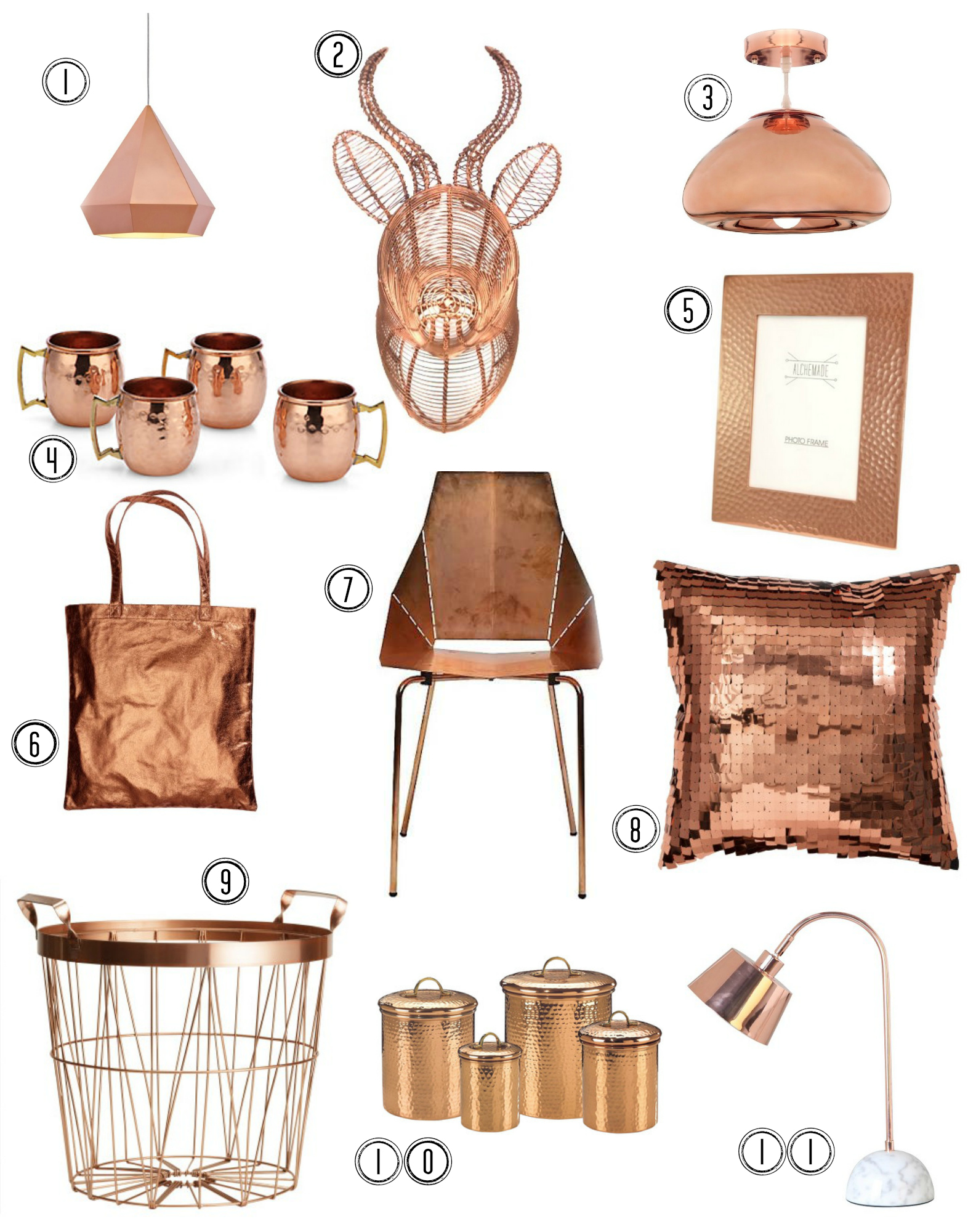 Copper Colored Decor